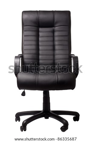 black executive leather chair on a white background #86335687