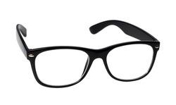 black eye glasses isolated on white background