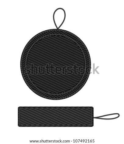Black fabric badges with straps. Raster version