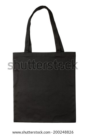 Black fabric bag isolated on white background. Blank reusable bag. Flat lay