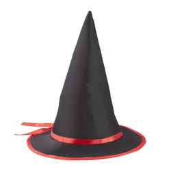 Black fabric witch hat with red ribbon for Halloween isolated on white background, with PS paths.