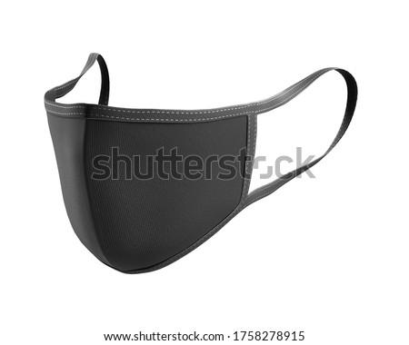 Black Face Mask Mockup, dark dust mask 3d rendering isolated on white background