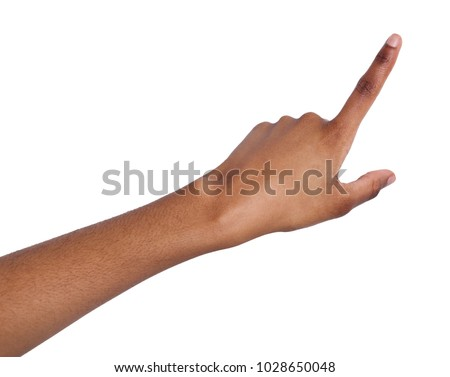 Black female hand point finger. Hand gestures - woman pointing on virtual object with forefinger, isolated on white background