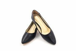 Black female high heeled leather shoes isolated on white background.