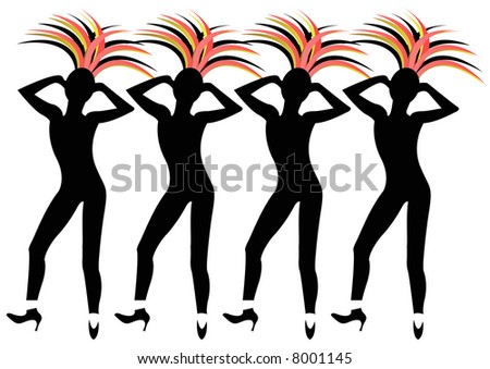 black female silhouettes of dancers with headdresses in Las Vegas