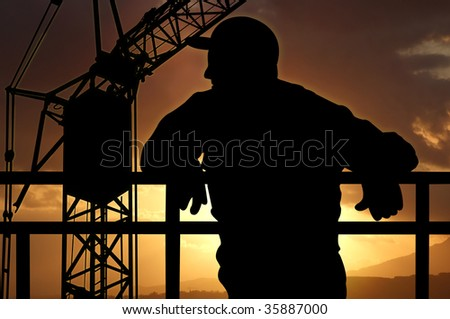 black figure, worker, black crane, sunset