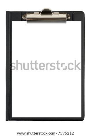 Black file with shite paper isolated over white background