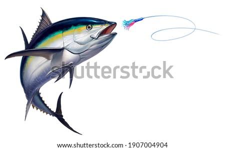 Black fin tuna attacks Bait Sea Swim Squids realistic illustration. Black fin yellow tuna in a jump. Foto d'archivio ©