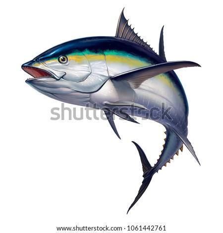 black fin tuna. Realistic isolated illustration. Foto d'archivio ©