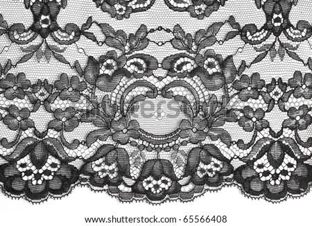 Black fine lace floral texture #65566408