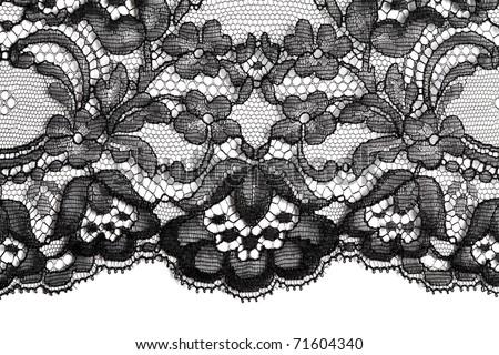 Black fine lace texture textile horizontal #71604340