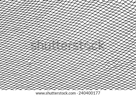 Black fishing net silhouette isolated on white background