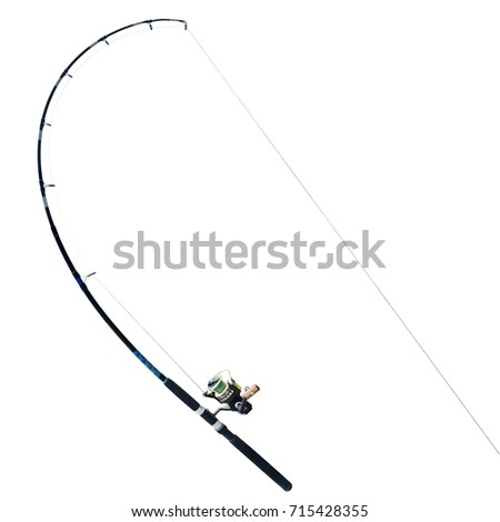Black fishing rod isolated on white background. This has clipping path. #715428355