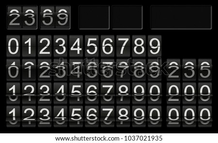 Black flip clock template with numbers in different flip situations for individual setup and composing as number or time scoreboard with white numbers on black background