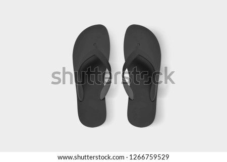 522011b94a245e Black Flip Flops isolated on white background.Top view.Mock up. 3D rendering