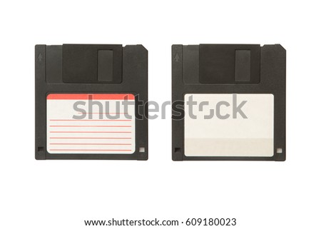 Black floppy diskette with two sides isolated on the white background.