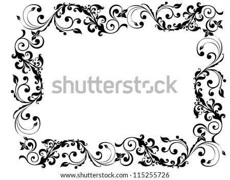 Black floral and swirly picture frame