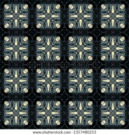 black floral darkness pattern kaleidoscope abstract background. night.