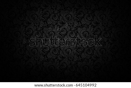 Black floral ornament with flowers and curls in a retro style #645104992
