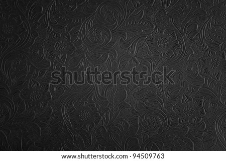 black floral pattern - stock photo