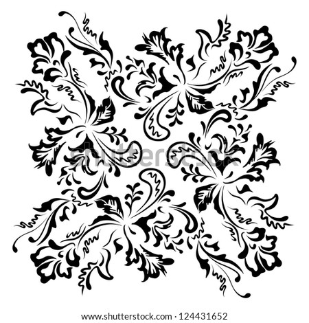 Black floral swirling ornament