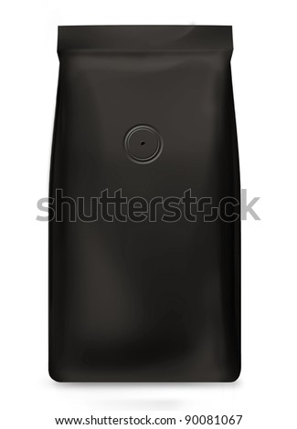 black foil bag with air valve isolated on white