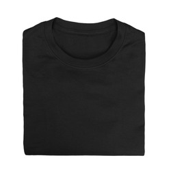 Black folded t-shirt isolated on white background