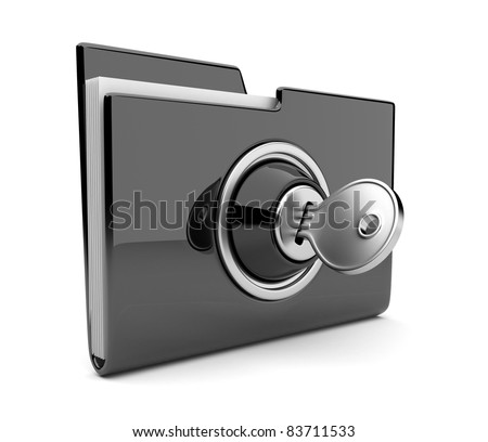 Black folder and lock. Data security concept. 3D
