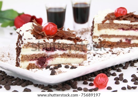 Black Forest, a traditional German cake with cherry liqueur