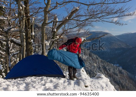 Black Forest hiker at winter, Germany