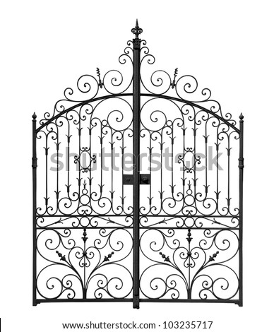 black forged gate with...