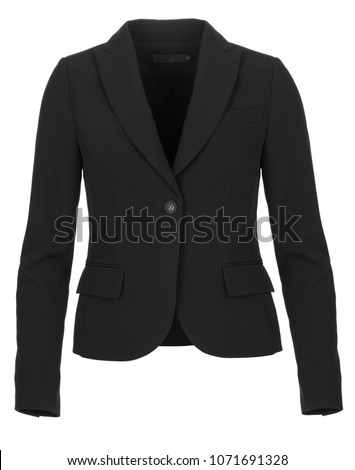 Black formal women's blazer, front view, photographed on ghost mannequin on white background.