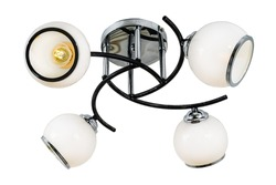 Black four-lamp chandelier with chrome base and white matt shades. Isolated on white background