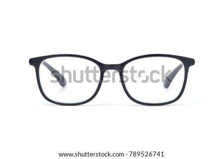 Black frame eyeglasses for businessman, Myopia (nearsightedness), Short sighted or presbyopia (Farsightedness) eyeglasses, isolated on white background