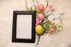 Black Frame Mockup, Mock Up, Easter, Flat Lays Image, Mug and Frame , Digital Mockups,SVG Sublimation Design, Spring Flowers, JPG picture
