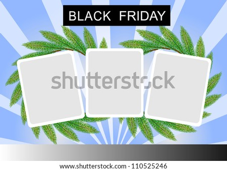 Black Friday Banner with Three Square Sticker on Pine Leaves Wreath, on White and Blue Star Burst Background