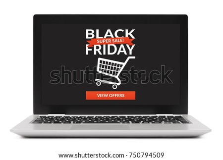 Black Friday concept on laptop computer screen. Isolated on white background. All screen content is designed by me.
