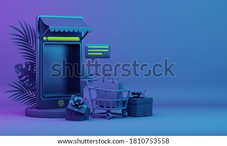 Black friday online shopping concept with mobile phone applications illustration trolley and shopping bag, gift box, palm leaves, copy space text, 3D rendering illustration.