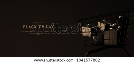 Black friday sale banner template with 3d trolley, shop bags, gifts boxes