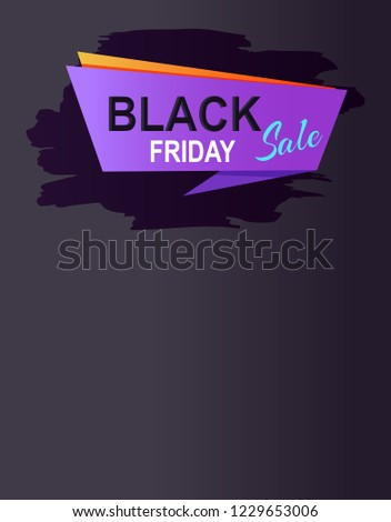Black friday sale promo web online poster with advertising information about discounts on purple rectangle with orange backdrop raster isolated