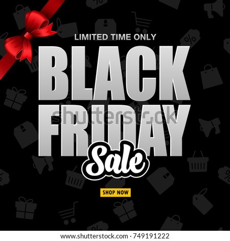Black Friday sale with red ribbon on the black background
