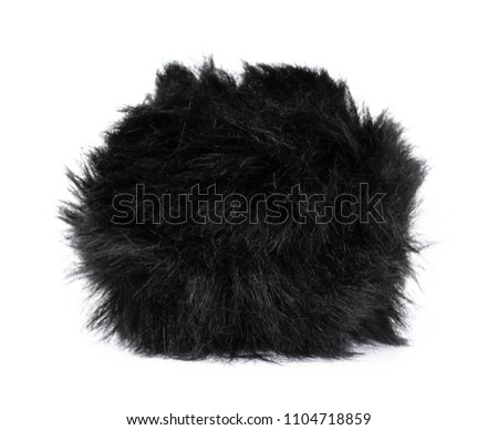 black Fur ball isolated on white background