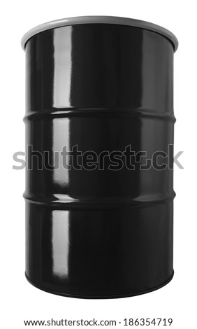 Black 55 Gallon Oil Drum Barrel Isolated on White Background