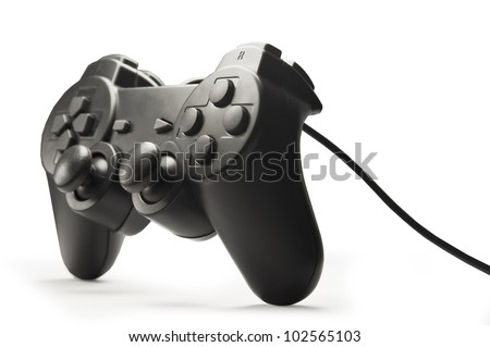 black game controller isolated on white background