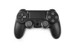 black gamepad isolated on a white background. Gaming concept. Close up