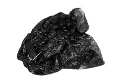 Black garbage bags isolated on white background.