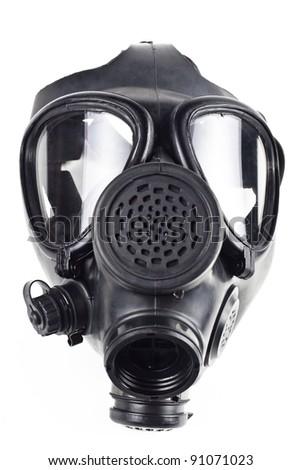 black gas masck isolated on white background
