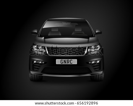 Black generic SUV car. Off Road Crossover with glossy surface on black background front view with isolated path. 3d illustration.