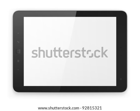 Black generic tablet computer (tablet pc) on white background. Modern portable touch pad device with white screen. - stock photo