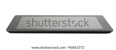 Black generic tablet pc on white background clipping path